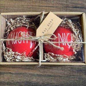 "Rae Dunn ""naughty"" & ""nice"" ornaments"